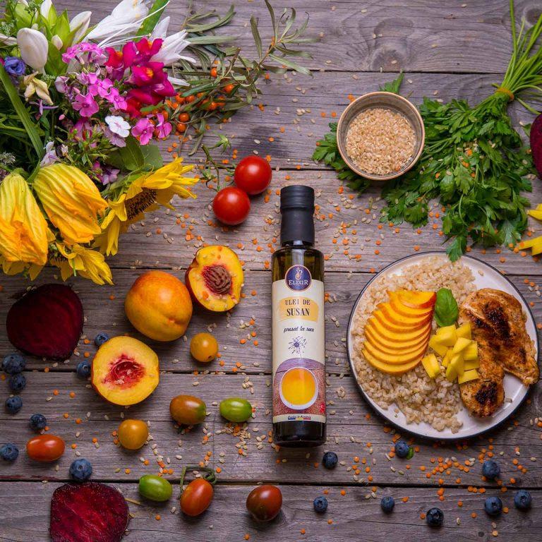 #MaiSănătos: Pui cu orez, avocado, nectarine și ulei de cânepă presat la rece Elixir
