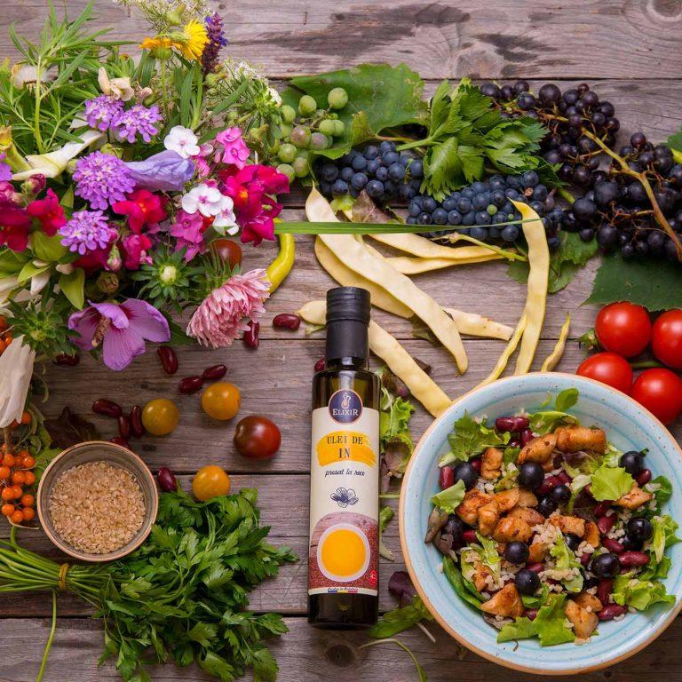 #MaiSănătos- salată de orez cu pui, struguri, fasole și ulei de in presat la rece Elixir
