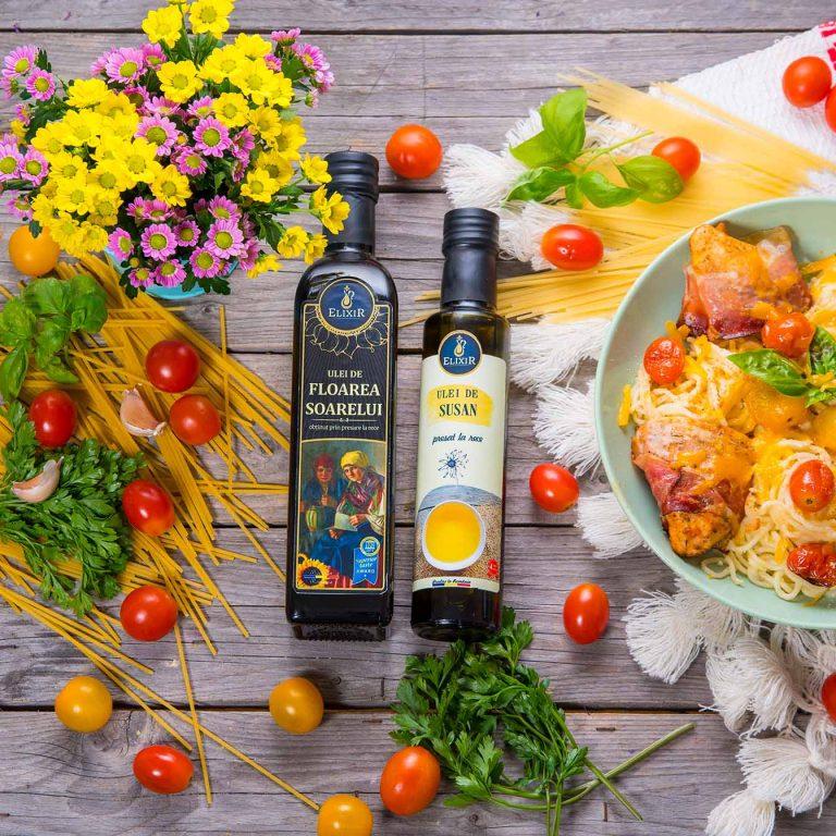 #MaiSănătos: paste cu cheddar, roșii, pui învelit în bacon și gătit cu ulei de susan și ulei de floarea soarelui Elixir