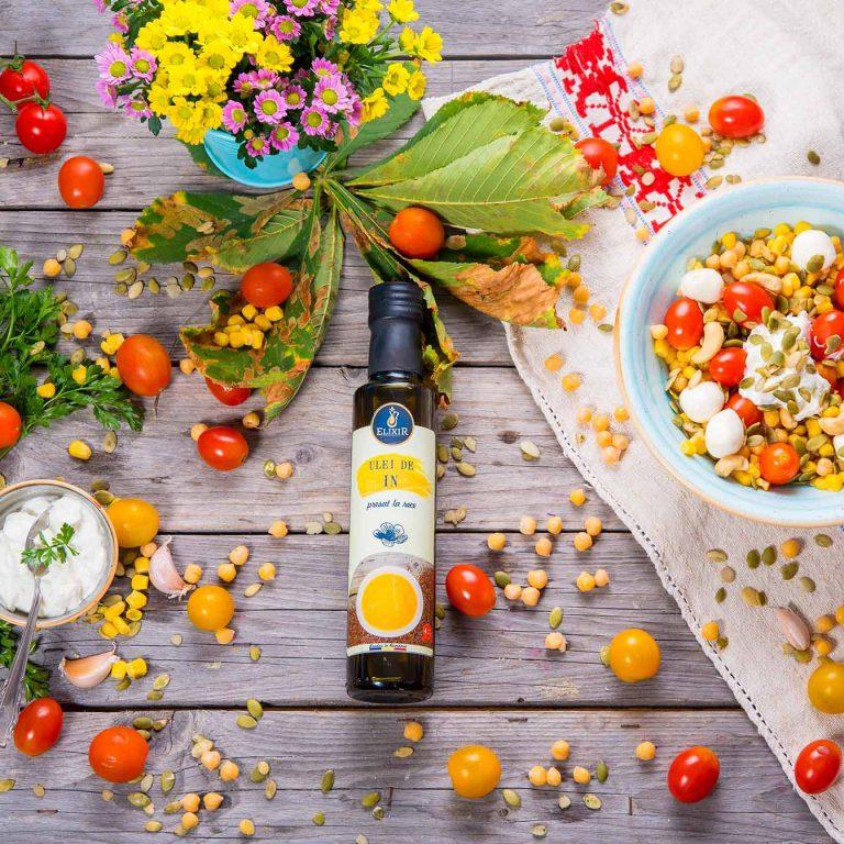 #MaiSănătos – salată de năut, mozzarella, roșii cherry, semințe de dovleac, caju și iaurt grecesc