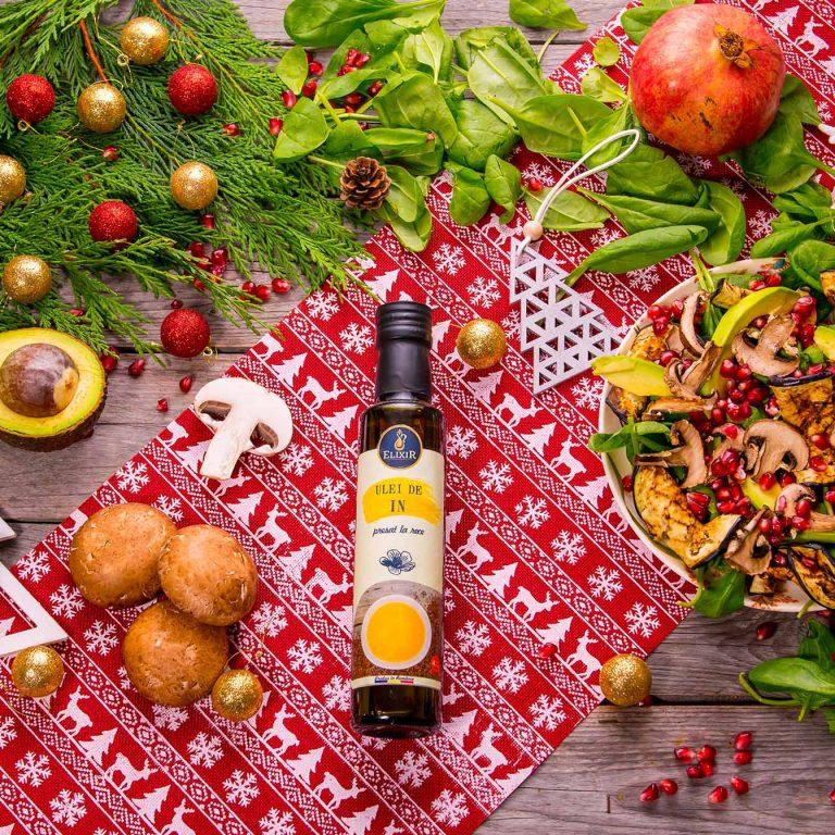 #MaiSănătos: salată de vinete pe grătar cu ciuperci, spanac, rodii, nuci, avocado și ulei de in Elixir