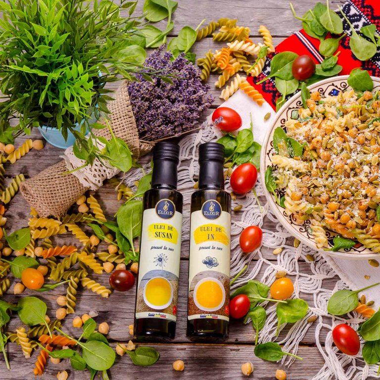 #MaiSănătos: Salată de paste cu năut, spanac și sâmburi de dovleac
